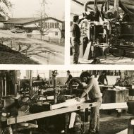 Three old photos showing inside and outside of Scheiwiler's timber construction business in Edliswil