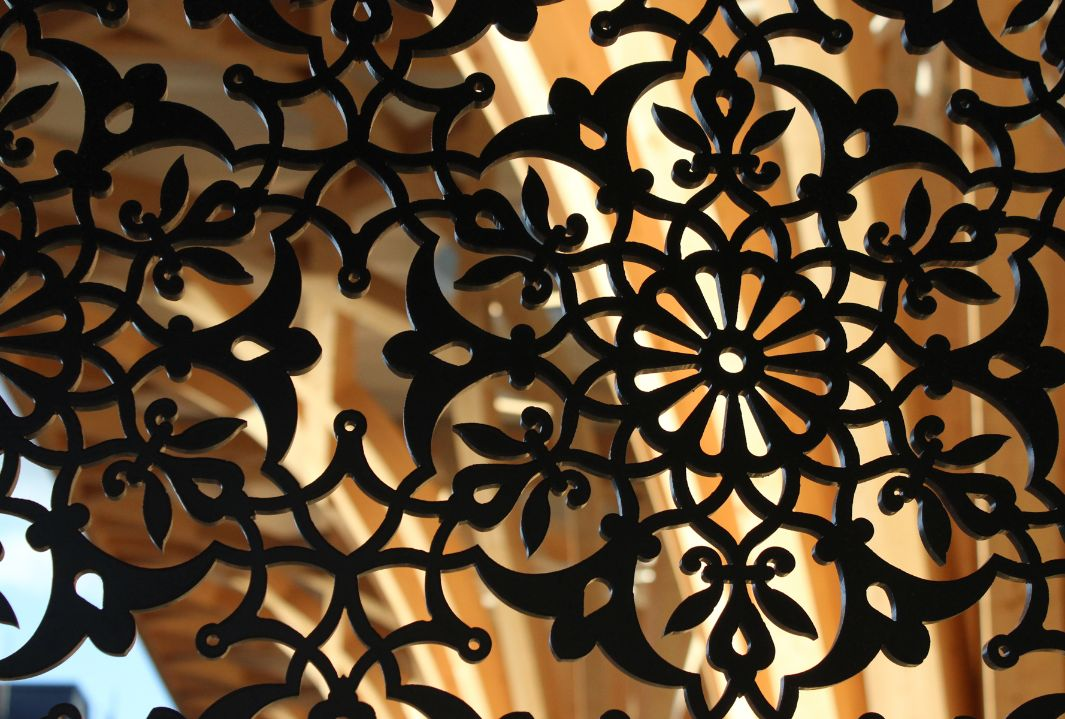 Detailed view of the oriental patterned wall of the Cambridge Mosque
