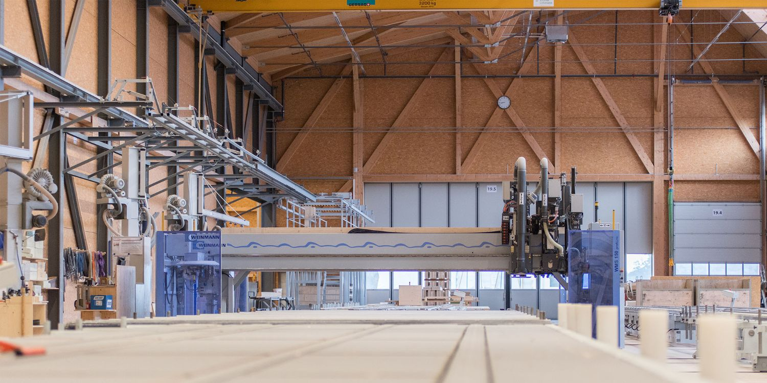 Timber modular construction elements are produced with the help of the nailing bridge