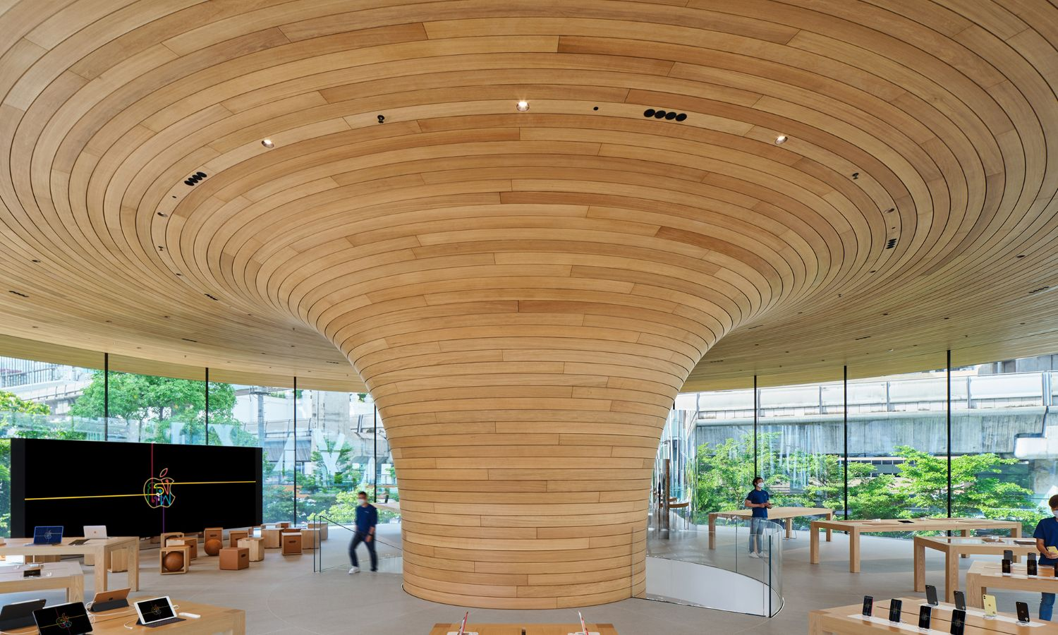 Oak cladding Apple Store Bangkok