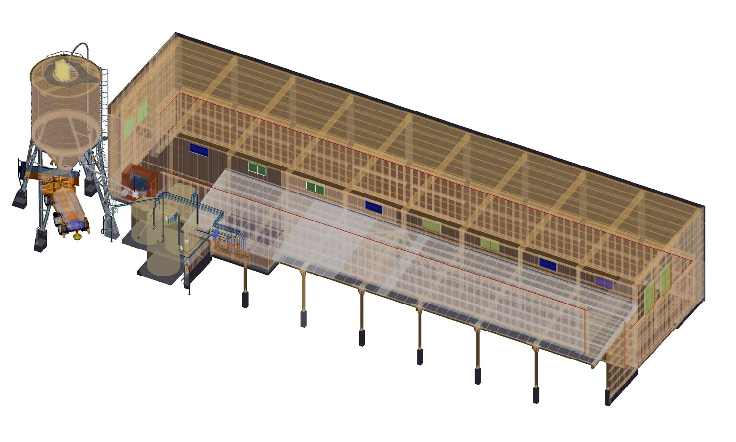 Visualisation of a complete facility, comprising a timber silo, loading vehicle, conveyor equipment, brine technology and salt storage depot