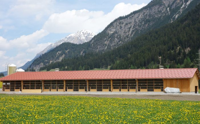 The farming hall is surrounded by mountains at 1,200 metres above sea level.