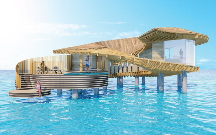 Coral Villa of the hotel complex Ummahat Al Shayk Island Resort in the Red Sea, designed by Japanese architect Kengo Kuma