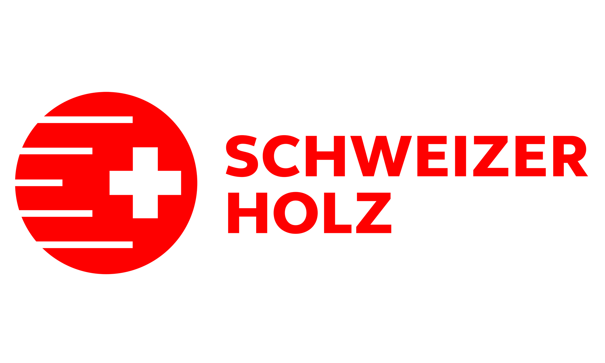 Red logo of the label Swiss wood in german